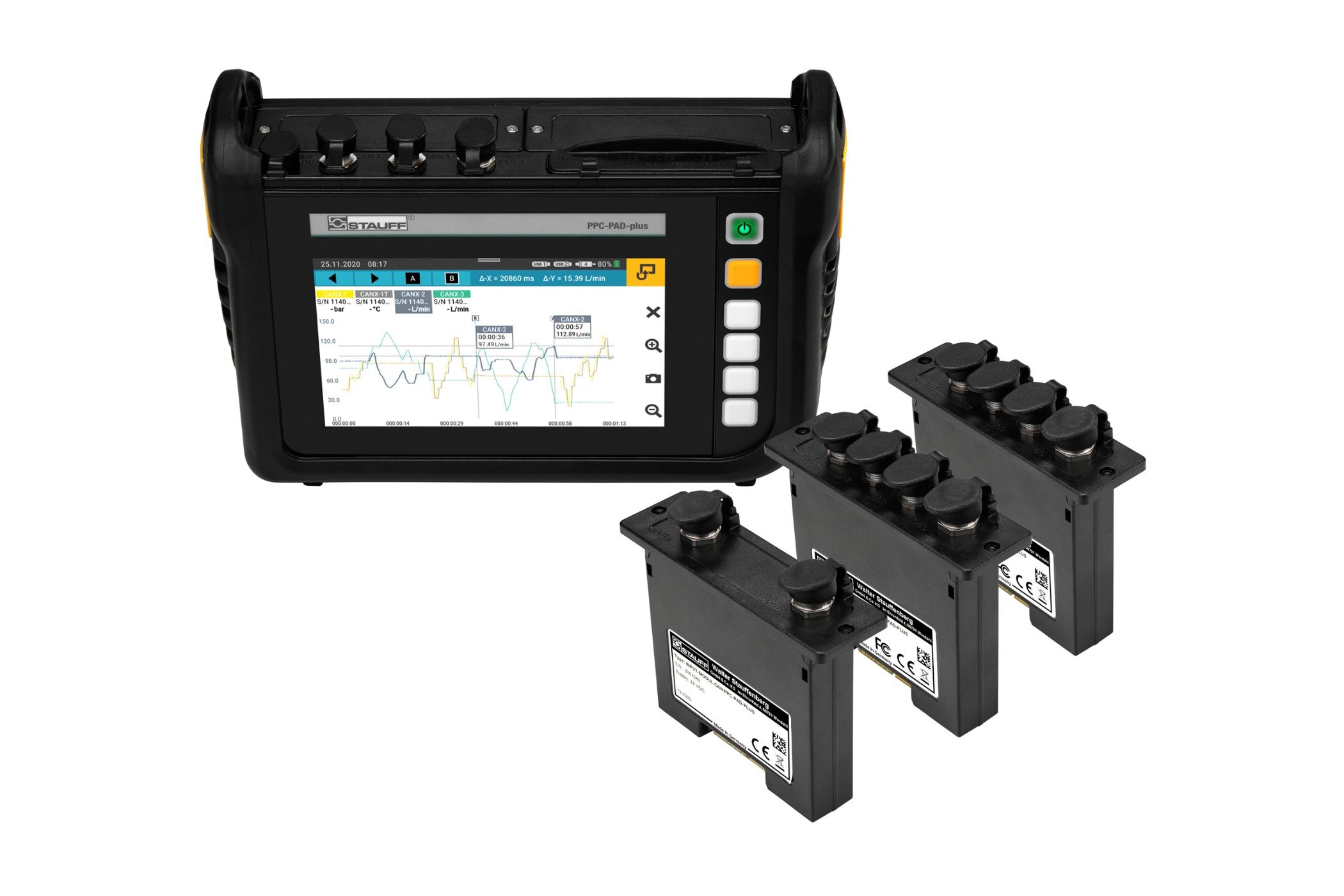 Hand-held hydraulic tester with exchangeable input modules