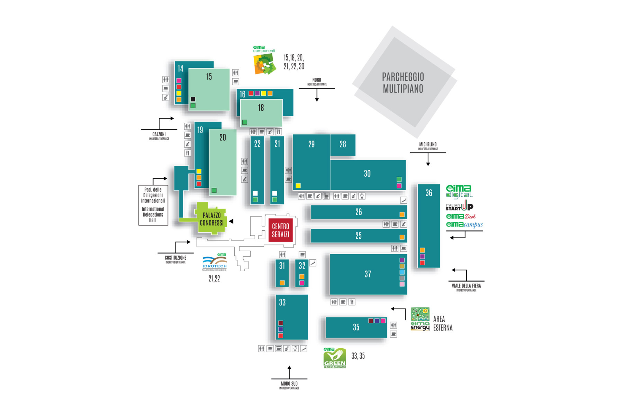 Hall Plan and Product Categories at EIMA